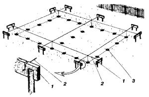 Разбивка комбинированного ленточного столбового фундамента по осям
