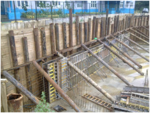 Временные подпорные стены (шпунты) для котлована в плотной застройке