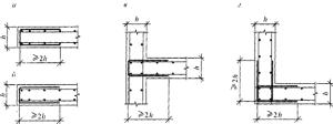 Схемы анкеровки рабочей арматуры фундаментов П-образными элементами