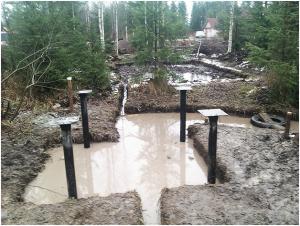 Строительство свайного фундамента на болоте