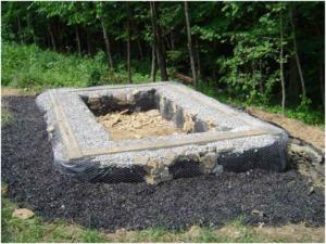 Засыпанный щебнем фундамент из покрышек