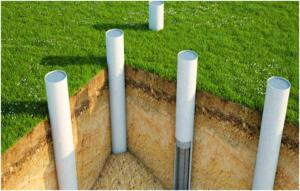 Схема фундамента из асбестовых труб