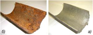 Защита металлической сваи от образования коррозии. На рисунки под буквой а) показана целая свая, а под буквой Б) пораженная коррозией.