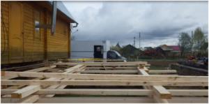 Перемещение дома при большой высоте фундаментов