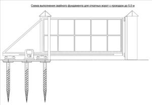 Схема свайного фундамента по откатные ворота
